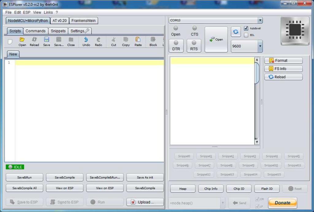 IDE ESPlorer - widok okna aplikacji